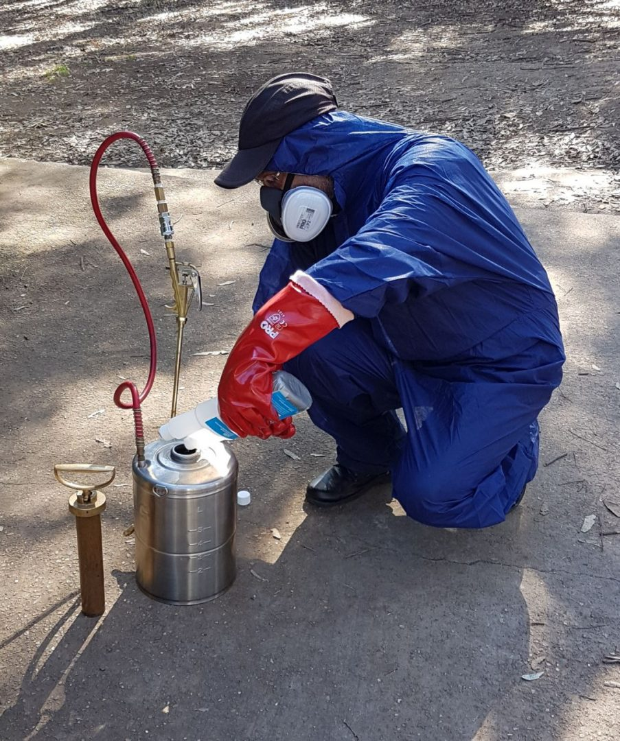 pest management technician mixing pest control solution